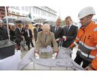 Cornerstone laying ceremony at A. Lange & Söhne: Walter Lange with the engraved time capsule.